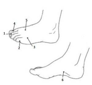 точки от головной боле на ногах