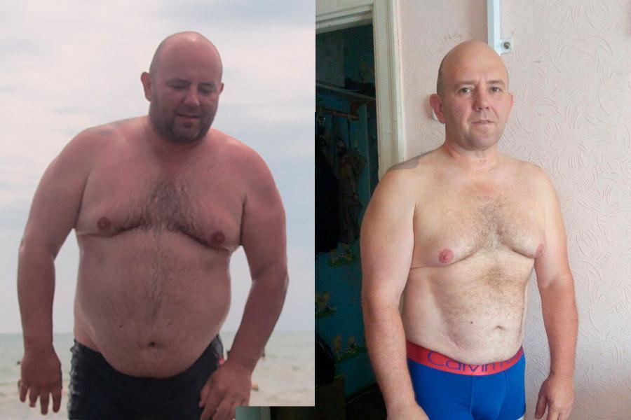 похудевший мужчина