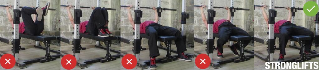 Техника жима штанги лежа —положение ног
