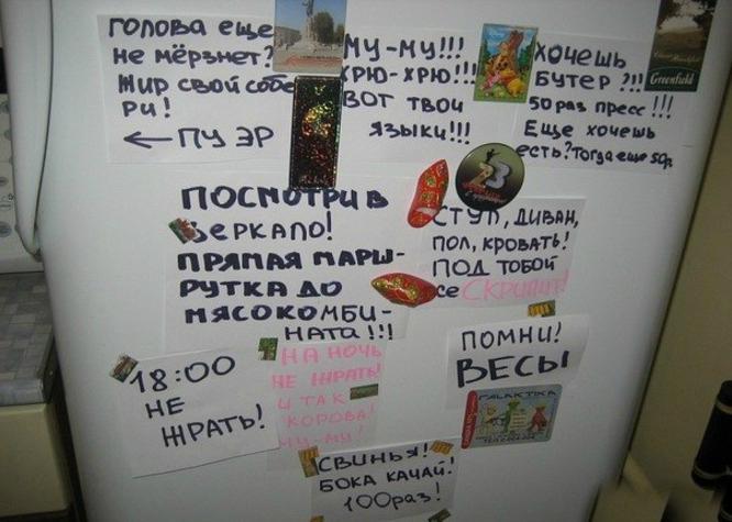 На холодильнике поместить фото с надписью