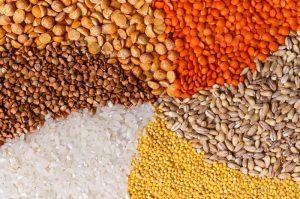 ячмень, бурый рис, горох